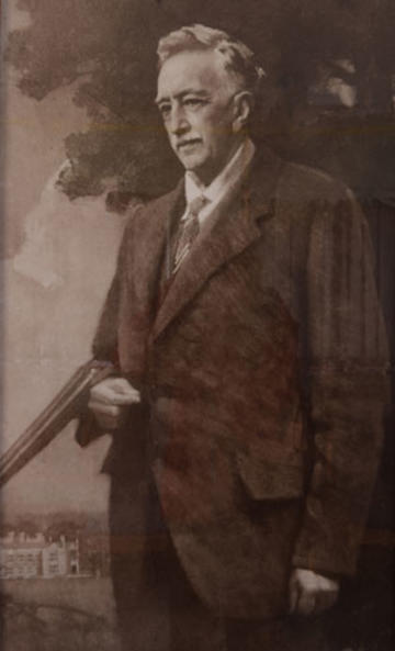 Portrait of Raymond ffennell, with Wytham Abbey in background, by Harold Speed