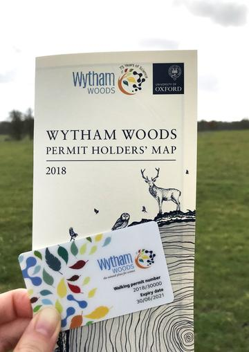 Image of Wytham Woods Map leaflet and Permit card, published in 2018