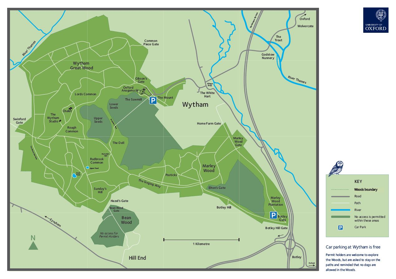 Map image of Wytham woods and surrounding waterways